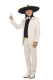 Ο αστείος μεξικανός στο κοστούμι και σομπρέρο που απομονώνεται στο λευκό Στοκ Εικόνες
