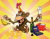 Ο αστείος πίθηκος κινούμενων σχεδίων γιορτάζει το 2016 διανυσματική απεικόνιση