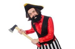Ο αστείος πειρατής στο λευκό στοκ εικόνα