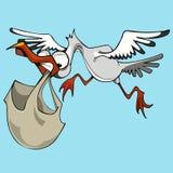 Ο αστείος πελαργός πουλιών κινούμενων σχεδίων φέρνει μια τσάντα Στοκ φωτογραφία με δικαίωμα ελεύθερης χρήσης