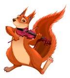 Ο αστείος σκίουρος παίζει το βιολί Στοκ Εικόνα