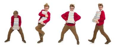 Ο αστείος σπουδαστής με τα βιβλία που απομονώνεται στο λευκό Στοκ εικόνα με δικαίωμα ελεύθερης χρήσης