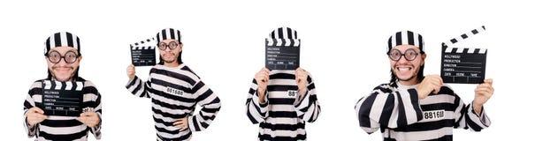 Ο αστείος τρόφιμος φυλακών με τον πίνακα κινηματογράφων που απομονώνεται στο λευκό Στοκ Φωτογραφία