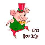 Ο αστείος χαριτωμένος χοίρος χορεύει Διανυσματική απεικόνιση για το σχέδιο του νέου έτους διανυσματική απεικόνιση