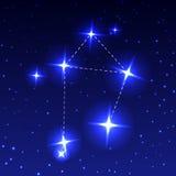 Ο αστερισμός Libra στον έναστρο ουρανό νύχτας Διανυσματική απεικόνιση της έννοιας της αστρονομίας Στοκ Εικόνα
