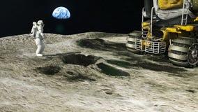 Ο αστροναύτης στο φεγγάρι επιστρέφει στο φεγγάρι του Rover μετά από την εξερεύνηση του γήινου δορυφόρου απεικόνιση αποθεμάτων