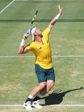 Ο αυστραλιανός τενίστας Sam Groth κατά τη διάρκεια του φλυτζανιού του Νταίηβις ξεχωρίζει ενάντια στο John Isner Στοκ Εικόνες