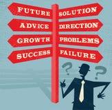 Ο αφηρημένος επιχειρηματίας έχει τις επιλογές στο σταυροδρόμι. διανυσματική απεικόνιση