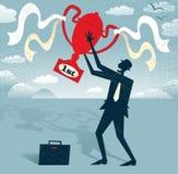 Ο αφηρημένος επιχειρηματίας κρατά το τρόπαιο νικητών. Στοκ Φωτογραφίες