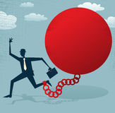 Ο αφηρημένος επιχειρηματίας κλείδωσε σε μια σφαίρα και μια αλυσίδα. διανυσματική απεικόνιση