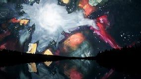 Ο αφηρημένος ζωηρόχρωμος ουρανός με τις ασυνήθιστες μορφές και τις μορφές απεικόνισε στη λίμνη τη νύχτα, ύφος του Salvador Dali Π διανυσματική απεικόνιση