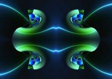 Ο αφηρημένος καλλιτεχνικός τρισδιάστατος υπολογιστής παρήγαγε το μοναδικό πράσινο fractals έργο τέχνης μορφών ελεύθερη απεικόνιση δικαιώματος