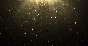 Ο αφηρημένος χρυσός ακτινοβολεί υπόβαθρο μορίων με τα λάμποντας αστέρια που πέφτουν κάτω και ελαφριά επίδραση επικαλύψεων φλογών  ελεύθερη απεικόνιση δικαιώματος