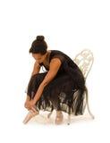 Ο αφροαμερικάνος Ballerina προετοιμάζεται για την κατηγορία Στοκ Εικόνες