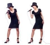 Ο αφροαμερικανός θηλυκός τραγουδιστής που απομονώνεται στο λευκό Στοκ εικόνα με δικαίωμα ελεύθερης χρήσης