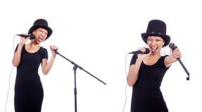 Ο αφροαμερικανός θηλυκός τραγουδιστής που απομονώνεται στο λευκό Στοκ Εικόνα