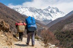 Ο αχθοφόρος που φέρνει τα βαριά φορτία περπατά στο στρατόπεδο βάσεων Everest, βουνό του Ιμαλαίαυ, Νεπάλ στοκ φωτογραφία με δικαίωμα ελεύθερης χρήσης