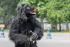 Ο λαϊκός χορευτής έντυσε ως αρκούδα βαδίζοντας από μπροστά Στοκ εικόνες με δικαίωμα ελεύθερης χρήσης