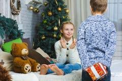 Ο αδελφός πρόκειται να δώσει στην αδελφή του ένα δώρο για Στοκ φωτογραφίες με δικαίωμα ελεύθερης χρήσης