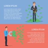 Ο βέβαιος επιχειρηματίας προσελκύει τα χρήματα με έναν μεγάλο μαγνήτη διανυσματική απεικόνιση