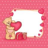 Ο βαλεντίνος teddy αντέχει με το σημάδι ελεύθερη απεικόνιση δικαιώματος