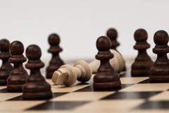 Ο βασιλιάς στο σκάκι έχει πέσει σε διάφορα ενέχυρα στοκ φωτογραφίες