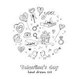 Ο βαλεντίνος doodle έθεσε με τις καρδιές, τα λουλούδια, τα δώρα, το candus και τα πουλιά Στοκ Εικόνες