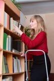 Ο βιβλιοθηκάριος ρυθμίζει εκ νέου τα βιβλία Στοκ Εικόνα