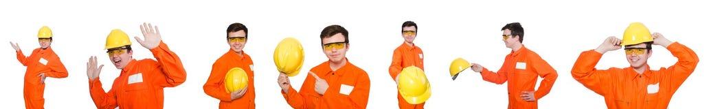 Ο βιομηχανικός εργάτης που απομονώνεται στο άσπρο υπόβαθρο Στοκ Φωτογραφία