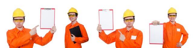 Ο βιομηχανικός εργάτης που απομονώνεται στο άσπρο υπόβαθρο Στοκ εικόνες με δικαίωμα ελεύθερης χρήσης