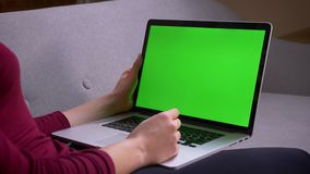 Ο βλαστός σχεδιαγράμματος της επιχειρηματία που έχει ένα βίντεο καλεί το lap-top με την πράσινη οθόνη χρώματος στο σπίτι απόθεμα βίντεο
