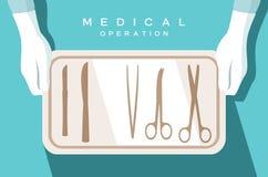 Ο βοηθός του χειρούργου κρατά τα χειρουργικά όργανα διανυσματική απεικόνιση
