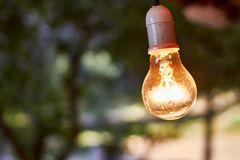 Ο βολβός κρεμά από το ανώτατο όριο καμπινών στοκ φωτογραφία με δικαίωμα ελεύθερης χρήσης