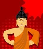Ο 0 Βούδας στο λαϊκό ύφος τέχνης Ινδικός Θεός οργισμένος Ανώτατο teac Στοκ Εικόνες
