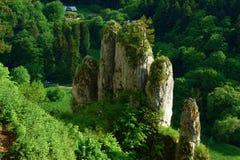 Ο βράχος που ξεπεράστηκε ως δάχτυλα παλαμών, κάλεσε τον άσπρο βράχο χεριών, στο εθνικό πάρκο Ojcow κοντά στην Κρακοβία, Πολωνία στοκ εικόνα