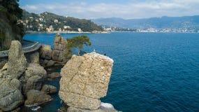 Ο βράχος Cadrega, του θαλάσσιου δέντρου πεύκων, της εναέριας άποψης, της προκυμαίας μεταξύ Santa Margherita Ligure και Portofino  Στοκ εικόνες με δικαίωμα ελεύθερης χρήσης