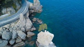 Ο βράχος Cadrega, του θαλάσσιου δέντρου πεύκων, της εναέριας άποψης, της προκυμαίας μεταξύ Santa Margherita Ligure και Portofino  Στοκ Εικόνες