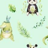 Ο βρεφικός σταθμός ζώων μωρών απομόνωσε το άνευ ραφής σχέδιο Τροπικό σχέδιο boho Watercolor, χαριτωμένος κροκόδειλος σχεδίων παιδ Στοκ εικόνα με δικαίωμα ελεύθερης χρήσης