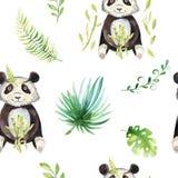 Ο βρεφικός σταθμός ζώων μωρών απομόνωσε το άνευ ραφής σχέδιο Τροπικό σχέδιο boho Watercolor, χαριτωμένο panda σχεδίων παιδιών τρο διανυσματική απεικόνιση