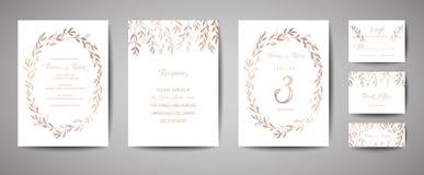 Ο γάμος πολυτέλειας σώζει την ημερομηνία, τη συλλογή καρτών πρόσκλησης με τα χρυσά φύλλα ευκαλύπτων φύλλων αλουμινίου και το στεφ ελεύθερη απεικόνιση δικαιώματος