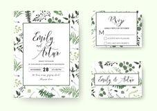Ο γάμος προσκαλεί, διανυσματική floral πρασινάδα καρτών πρόσκλησης rsvp silh απεικόνιση αποθεμάτων