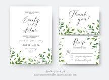 Ο γάμος προσκαλεί, πρόσκληση, RSVP, σας ευχαριστεί διανυσματική τέχνη καρτών des διανυσματική απεικόνιση