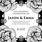 Ο γάμος τριαντάφυλλων προσκαλεί το πρότυπο πρόσκλησης Στοκ εικόνα με δικαίωμα ελεύθερης χρήσης