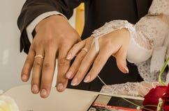 Ο γάμος χτυπά newlyweds Στοκ Εικόνα