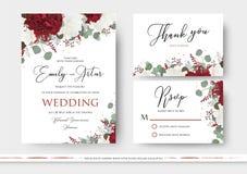 Ο γάμος floral προσκαλεί, εκτός από την ημερομηνία, σας ευχαριστεί, rsvp κάρτα desig απεικόνιση αποθεμάτων