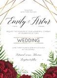 Ο γάμος floral προσκαλεί, η πρόσκληση εκτός από το σχέδιο καρτών ημερομηνίας με burgundy που ο κόκκινος κήπος αυξήθηκε λουλούδια, απεικόνιση αποθεμάτων