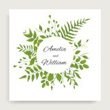 Ο γάμος floral προσκαλεί το σχέδιο καρτών με τα deferent φύλλα ύφους watercolor ελεύθερη απεικόνιση δικαιώματος