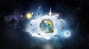 Ο γήινος πλανήτης μας Μικτά μέσα Μικτά μέσα Στοκ Εικόνες