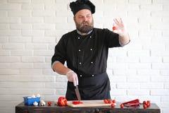 Ο γενειοφόρος αρχιμάγειρας αρχιμαγείρων προετοιμάζει τα γεύματα στοκ φωτογραφίες