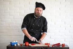 Ο γενειοφόρος αρχιμάγειρας αρχιμαγείρων προετοιμάζει τα γεύματα στοκ εικόνες